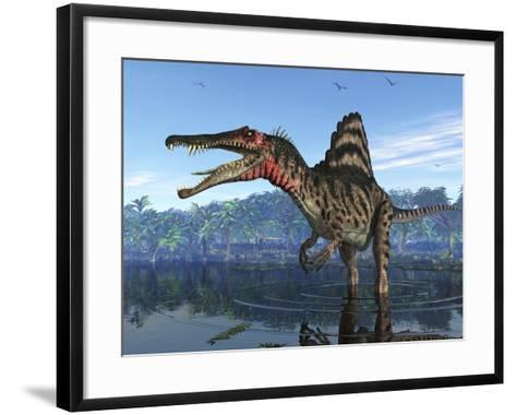 Spinosaurus Dinosaur, Artwork-Walter Myers-Framed Art Print