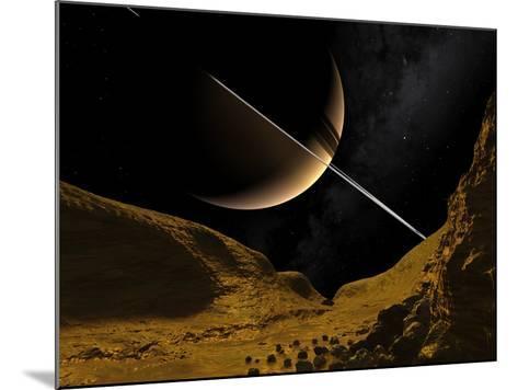 Saturn's Moon Enceladus, Artwork-Walter Myers-Mounted Photographic Print