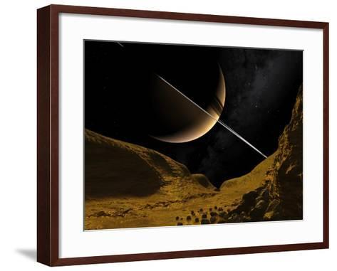 Saturn's Moon Enceladus, Artwork-Walter Myers-Framed Art Print