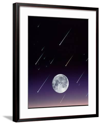 Meteors And Full Moon-David Nunuk-Framed Art Print