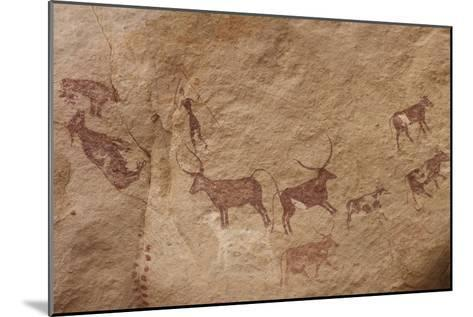 Pictograph of Lion Attack, Libya-David Parker-Mounted Photographic Print