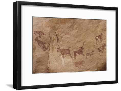 Pictograph of Lion Attack, Libya-David Parker-Framed Art Print