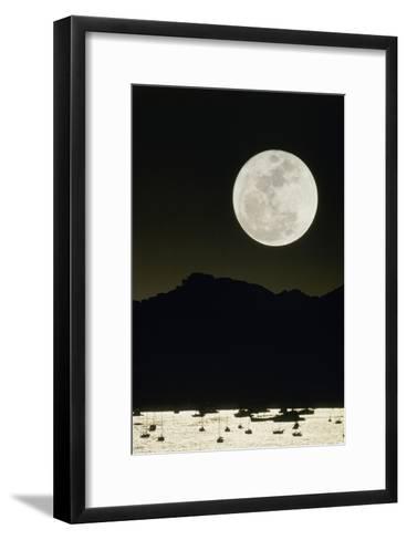 Full Moon Seen From Earth Over Mountains-David Nunuk-Framed Art Print
