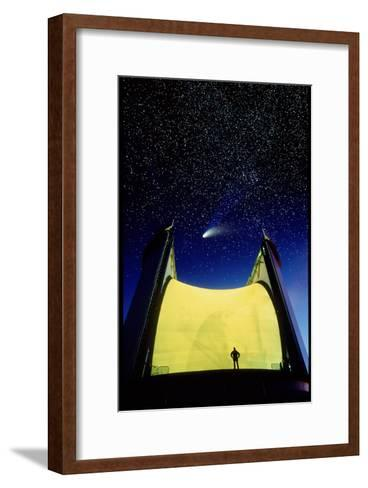 Telescope & Comet Hale-Bopp-David Nunuk-Framed Art Print