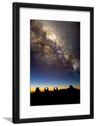 Mauna Kea Telescopes And Milky Way-David Nunuk-Framed Art Print