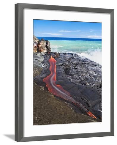 Lava Flowing Into Ocean, Hawaii-David Nunuk-Framed Art Print