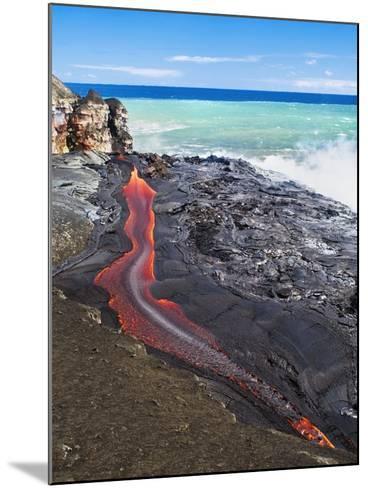 Lava Flowing Into Ocean, Hawaii-David Nunuk-Mounted Photographic Print