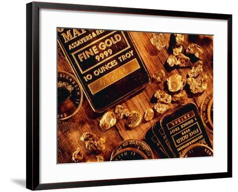 Nuggets, Bars And Coins Made of Gold-David Nunuk-Framed Art Print