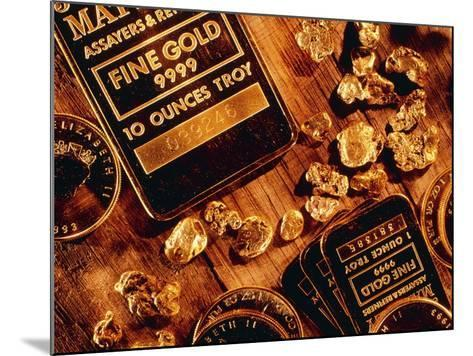 Nuggets, Bars And Coins Made of Gold-David Nunuk-Mounted Photographic Print