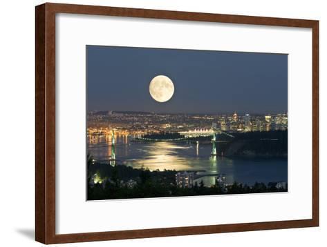 Full Moon Over Vancouver-David Nunuk-Framed Art Print