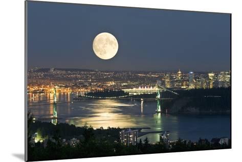 Full Moon Over Vancouver-David Nunuk-Mounted Photographic Print