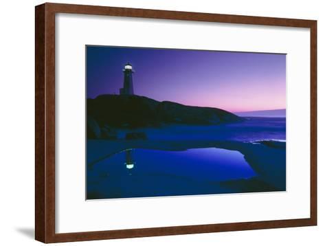 Dusk View of Lighthouse, Nova Scotia-David Nunuk-Framed Art Print