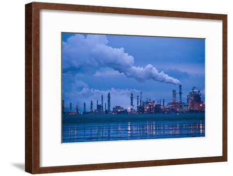 Oil Refinery At Dusk-David Nunuk-Framed Art Print