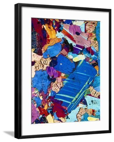 Polarised LM of a Thin Section of Gabbro Rock-PASIEKA-Framed Art Print