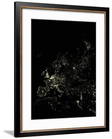 Europe At Night, Satellite Image-PLANETOBSERVER-Framed Art Print