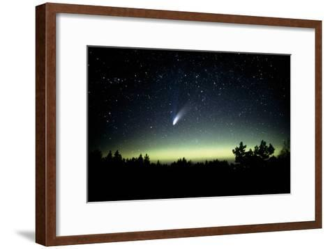 Comet Hale-Bopp And Aurora Borealis, 30 March 1997-Pekka Parviainen-Framed Art Print