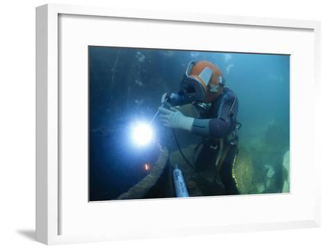 Commercial Diver Welding-Alexis Rosenfeld-Framed Art Print