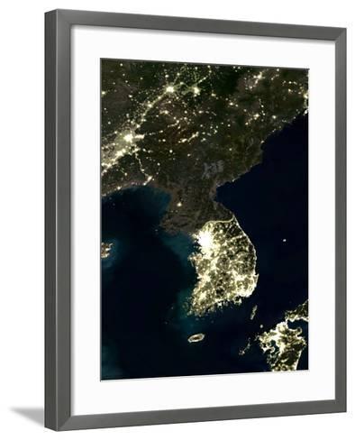 Korea At Night, Satellite Image-PLANETOBSERVER-Framed Art Print