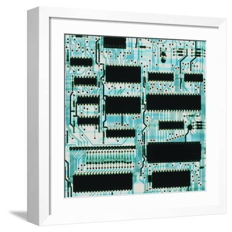 Circuit Board with Microprocessors, Etc.-PASIEKA-Framed Art Print