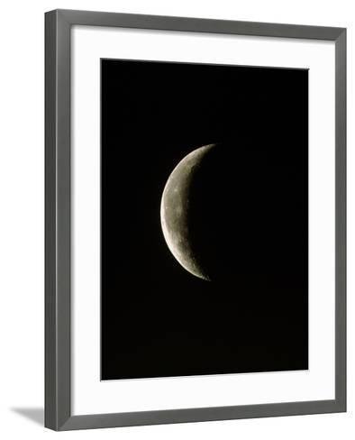 Optical Image of a Waning Crescent Moon-John Sanford-Framed Art Print