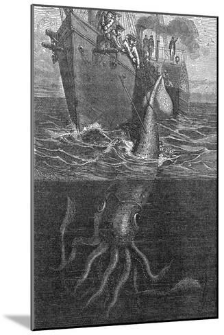 Gigantic Squid And Ship, 19th Century-Middle Temple Library-Mounted Photographic Print