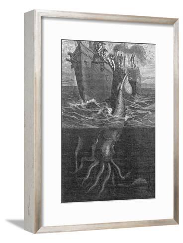 Gigantic Squid And Ship, 19th Century-Middle Temple Library-Framed Art Print