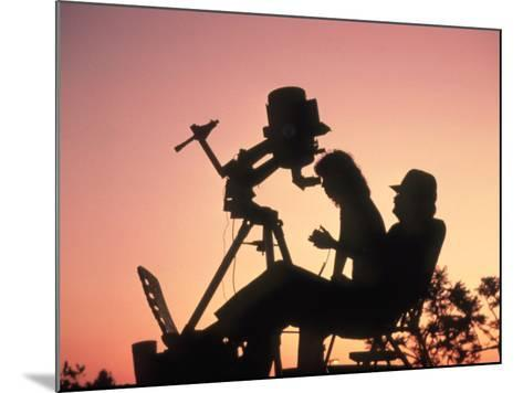 Amateur Astronomers with Meade 2080 20cm Telescope-John Sanford-Mounted Photographic Print