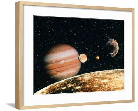 Jupiter And the Galilean Moons Seen From Callisto-Science Photo Library-Framed Art Print