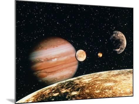 Jupiter And the Galilean Moons Seen From Callisto-Science Photo Library-Mounted Photographic Print
