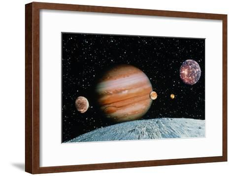 Jupiter And the Galilean Moons Seen From Leda-Science Photo Library-Framed Art Print