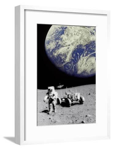 Astronaut on Moon with Earth-Science Photo Library-Framed Art Print