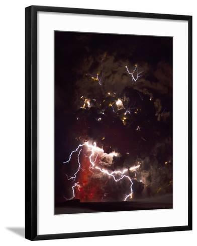Volcanic Lightning, Iceland, April 2010-Olivier Vandeginste-Framed Art Print