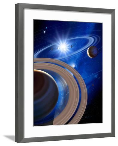Saturn And Solar System-Detlev Van Ravenswaay-Framed Art Print