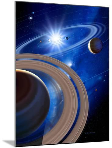 Saturn And Solar System-Detlev Van Ravenswaay-Mounted Photographic Print