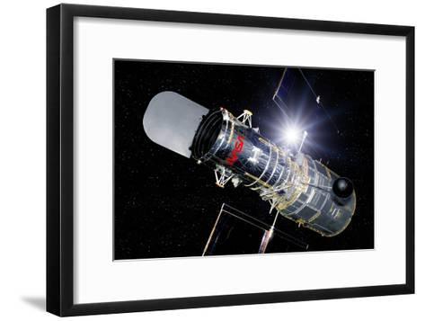 Hubble Space Telescope In Orbit, Artwork-Detlev Van Ravenswaay-Framed Art Print