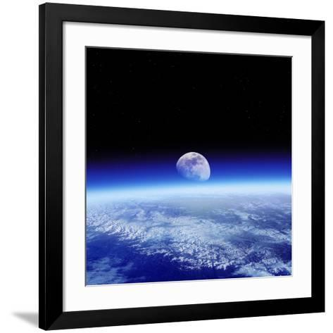 Moon Rising Over Earth's Horizon-Detlev Van Ravenswaay-Framed Art Print