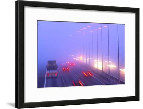 Vehicles Driving Through Fog on a Motorway-Jeremy Walker-Framed Art Print