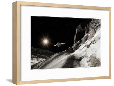 Saturn From Iapetus-Detlev Van Ravenswaay-Framed Art Print