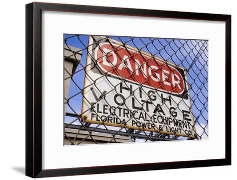 Danger High Voltage Sign In Cocoa Florida-Mark Williamson-Framed Art Print