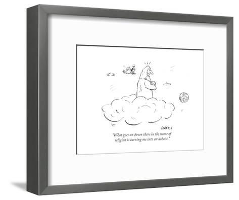 """""""What goes on down there in the name of religion is turning me into an ath?"""" - Cartoon-David Sipress-Framed Art Print"""