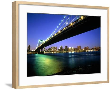 Manhattan Bridge and Skyline at Dusk-Alan Schein-Framed Art Print