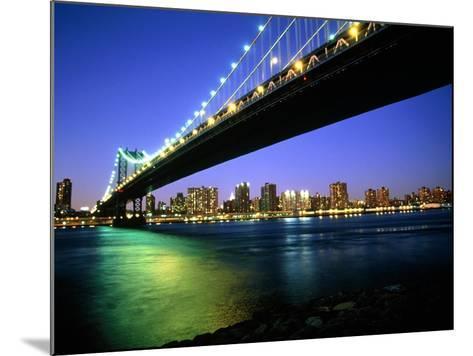 Manhattan Bridge and Skyline at Dusk-Alan Schein-Mounted Photographic Print