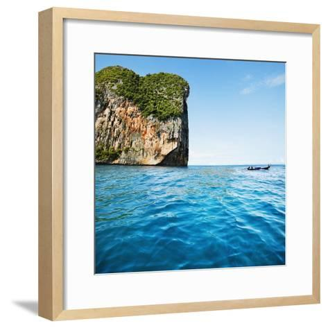 Phang-Nga Bay Island with Mountains-JoSon-Framed Art Print