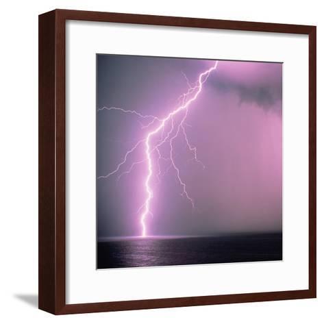 Lightning across the sea-Klaus Hackenberg-Framed Art Print