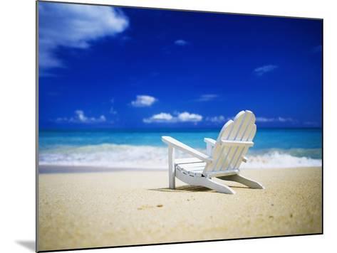Beach Chair on Empty Beach-Randy Faris-Mounted Photographic Print