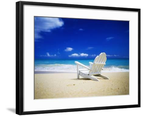 Beach Chair on Empty Beach-Randy Faris-Framed Art Print