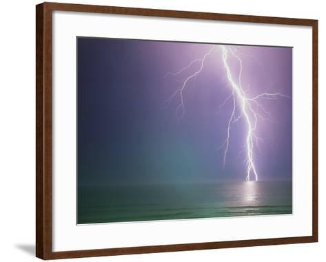 Lightning Storm over Ocean-Peter Wilson-Framed Art Print