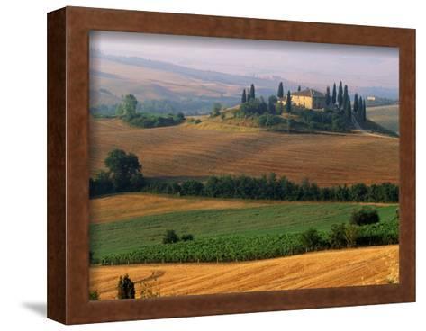 Italy, Tuscany, Val d'Orcia, fields at sunrise-Sergio Pitamitz-Framed Art Print