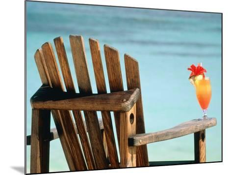 Seychelles, Denis Island, beach chair and fruit cocktail-Sergio Pitamitz-Mounted Photographic Print