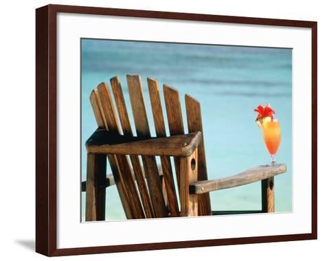 Seychelles, Denis Island, beach chair and fruit cocktail-Sergio Pitamitz-Framed Art Print